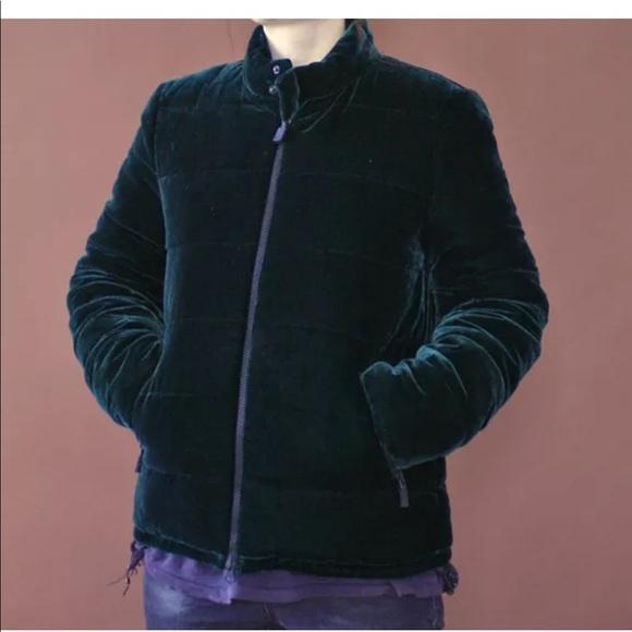 best authentic ca868 99411 ASPESI green velvet puffer coat